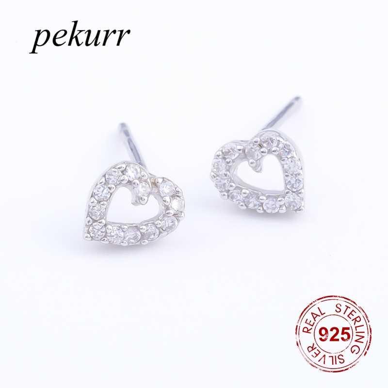 Pekurr, 100% 925 пробы, серебряные, наклонные, полые, большое сердце, серьги-гвоздики для женщин, хорошее ювелирное изделие, ухо CZ