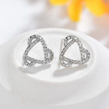 geometric earrings studs round vintage for women silver cubic zircon