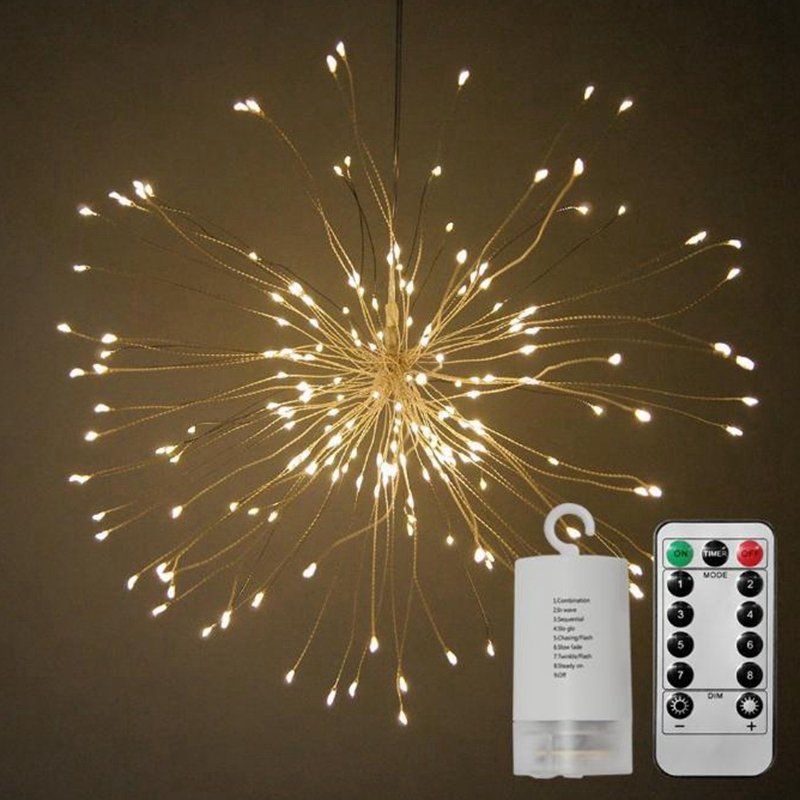 Led String Lights Decorative Garland Wedding Christmas Lights Foldable Bouquet Shape Firework Lights, Warm White