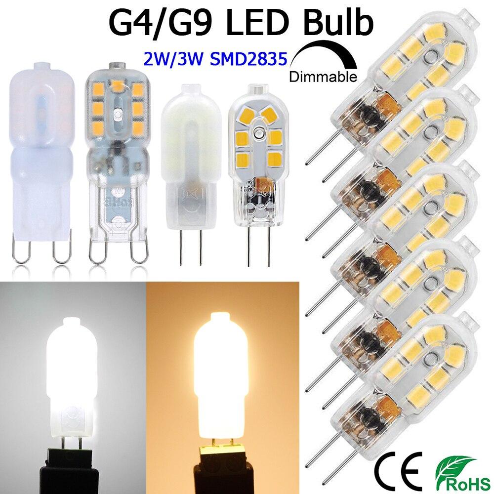 4 PACK G9 Dimmable LED Bulb G4 Non-Dimmable Lamp Bi-Pin Base AC/DC12V  AC110V AC220V Warm White Cool White D40