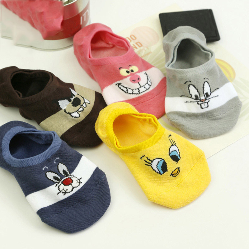 Cute Cartoon Women Causal Cotton Socks Looney Tunes Comfortable Tweety Bunny Wolf Invisible Men Socks No Show Socks Dropshipping