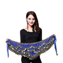 Vrouwen Buikdans Kostuum Hip Sjaal Accessoires Riem Rok Bellydance Munten Zijden Sjaal Taille Ketting Wrap Kristal Volwassen Dancewear