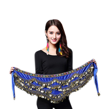 Women Belly Dance Costume Hip Scarf Accessories Belt Skirt  Bellydance Coins Silk Scarf Waist Chain Wrap Crystal Adult Dancewear