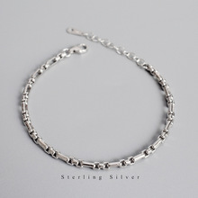Silvology Texture Wide Chain Bracelets 925 Sterling Silver Vintage Elegant INS Korea for Women Jewelry Gift