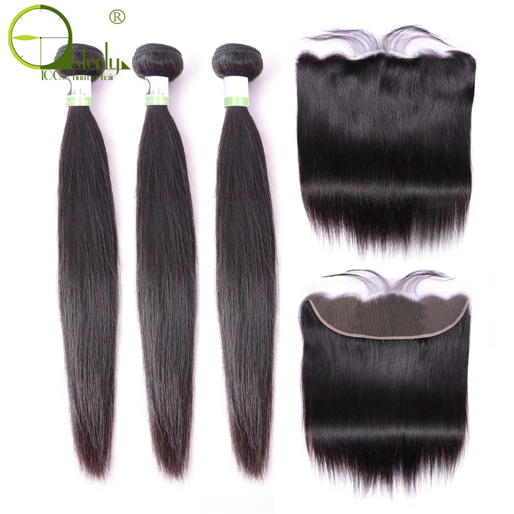 Sterly Straight Hair Bundles With Frontal Remy Human Hair Bundles With Closure Brazilian Hair Weave Bundles With Closure
