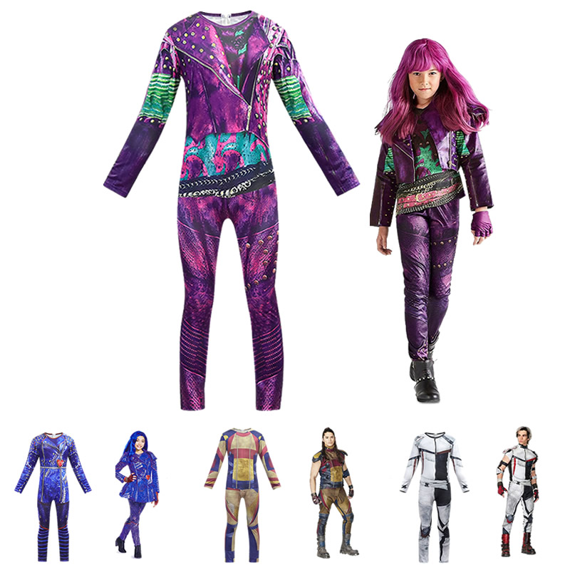 Descendants 3 Mal Jumpsuit Evie Fancy Clothes Makeup Sets Little Kids Onesies Halloween Horror Night Party Carlos Jay Costumes