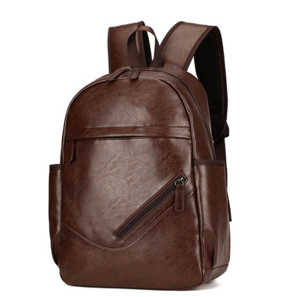 PU Leather Men 14 inch Laptop Backpacks Large-capacity Fashion Travel Male Leisure Backpack