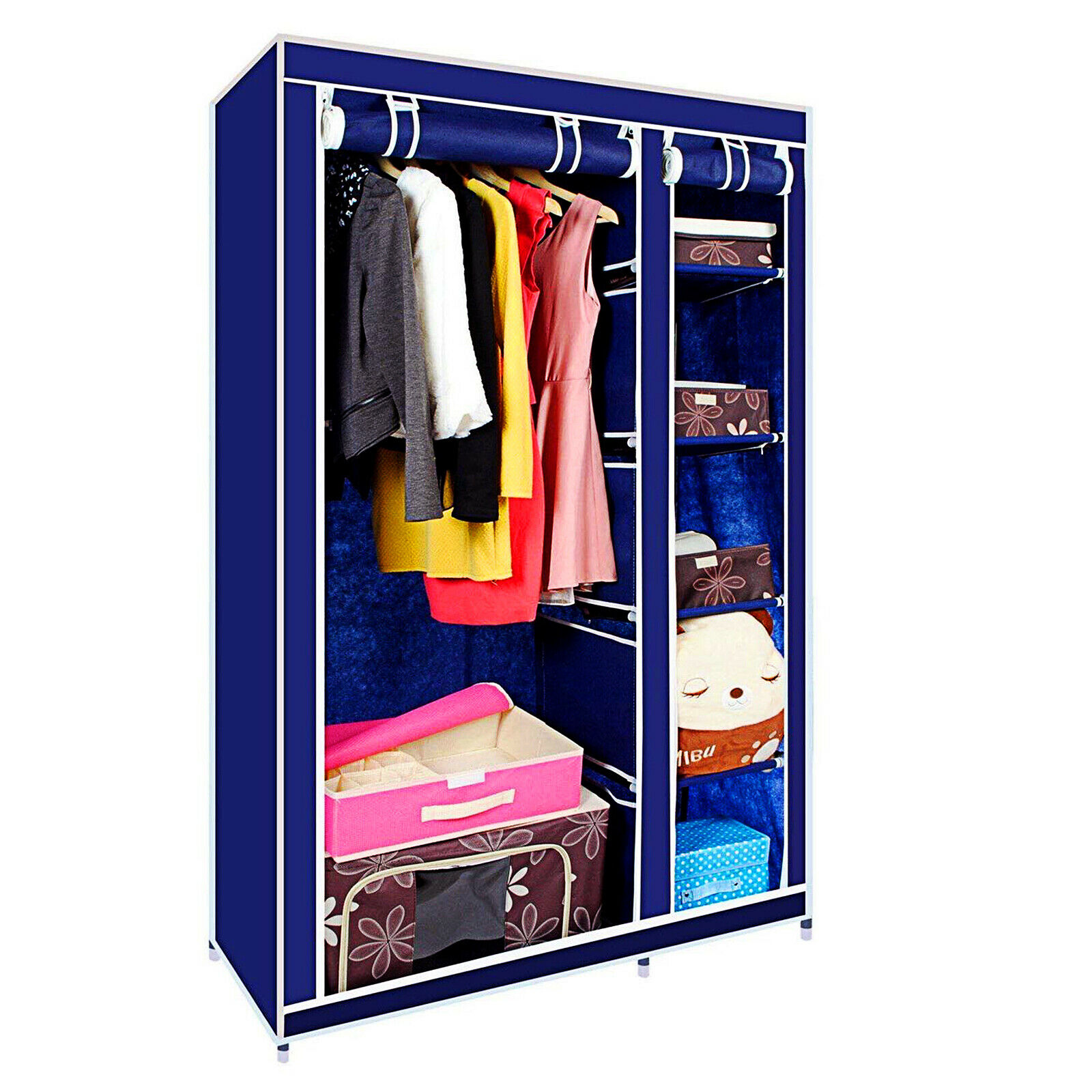 Double Canvas Wardrobe Clothes Hanging Rail Shelves Storage Cupboard