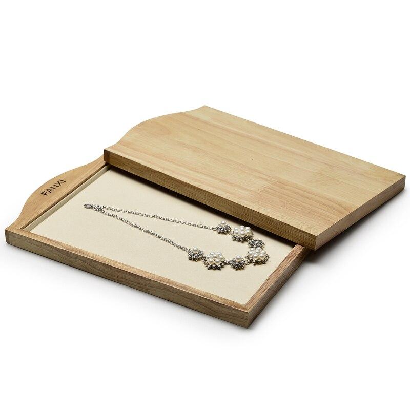 FANXI 2 pièces solide en bois collier et pendentif présentoir avec microfibre pour bijoux anneau boucles d'oreilles bracelet organisateur bijoux plateau