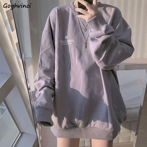 No Hat Hoodies Women Spring Letter Printed Loose Thin Korean Trendy Leisure Chic Womens Sweatshirts All-match Tees Preppy New BF