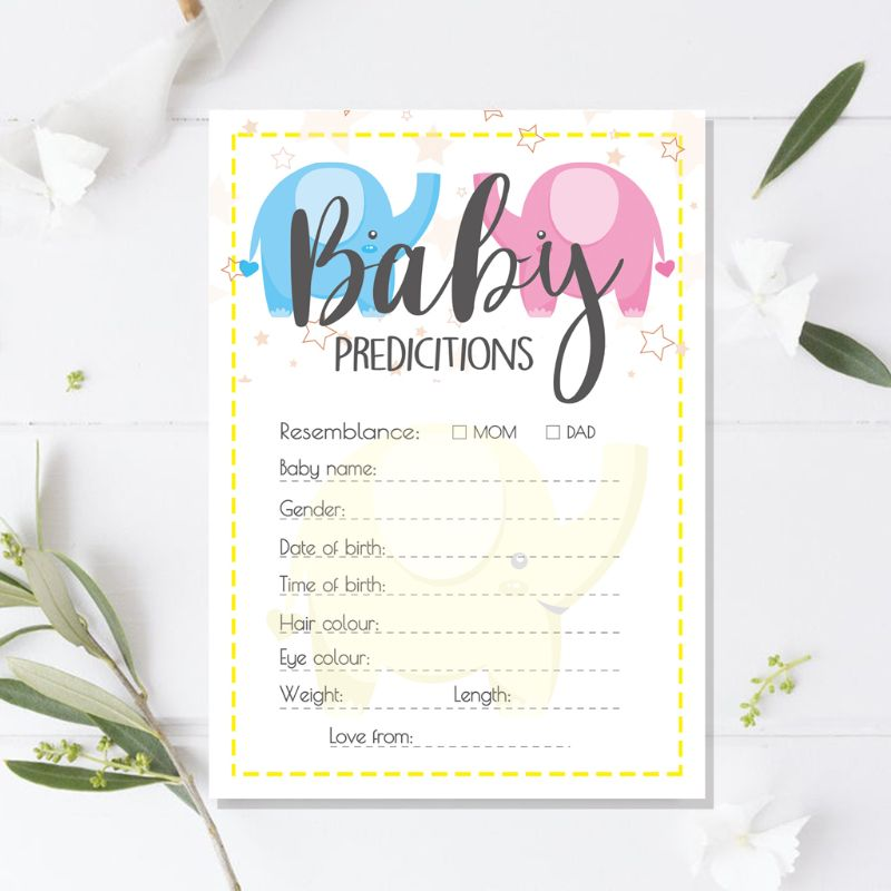 10 Pack Baby Shower Prediction Advice Cards - Baby Shower Games Gender Neutral G99C