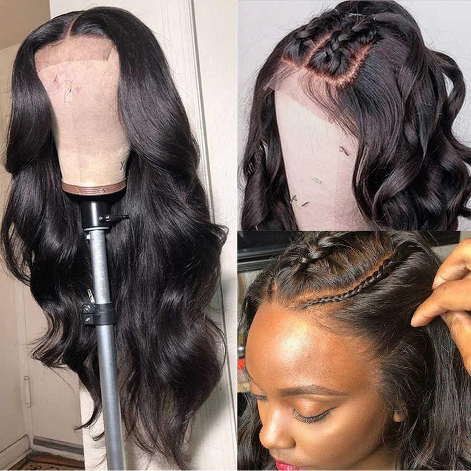 10-26 inç vücut dalga dantel ön peruk 4X4 şeffaf insan saçı dantel ön islak ve dalgalı dantel ön peruk dantel kapatma peruk