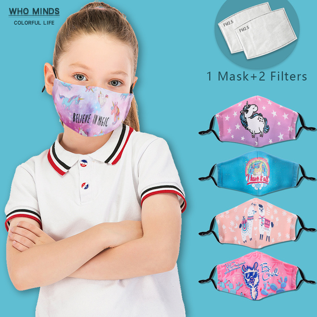 Cute Kids Mask Unicorn Reusable Mouth Mask Washable Face Mask With Filter Dust Child Anti Windproof Adjustable Straps Masks
