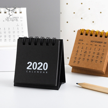 2020 Retro Kraft Paper Coil Calendar DIY Mini Desk Calendars Daily Schedule Planner 2019.09-2020.12 Office Decoration