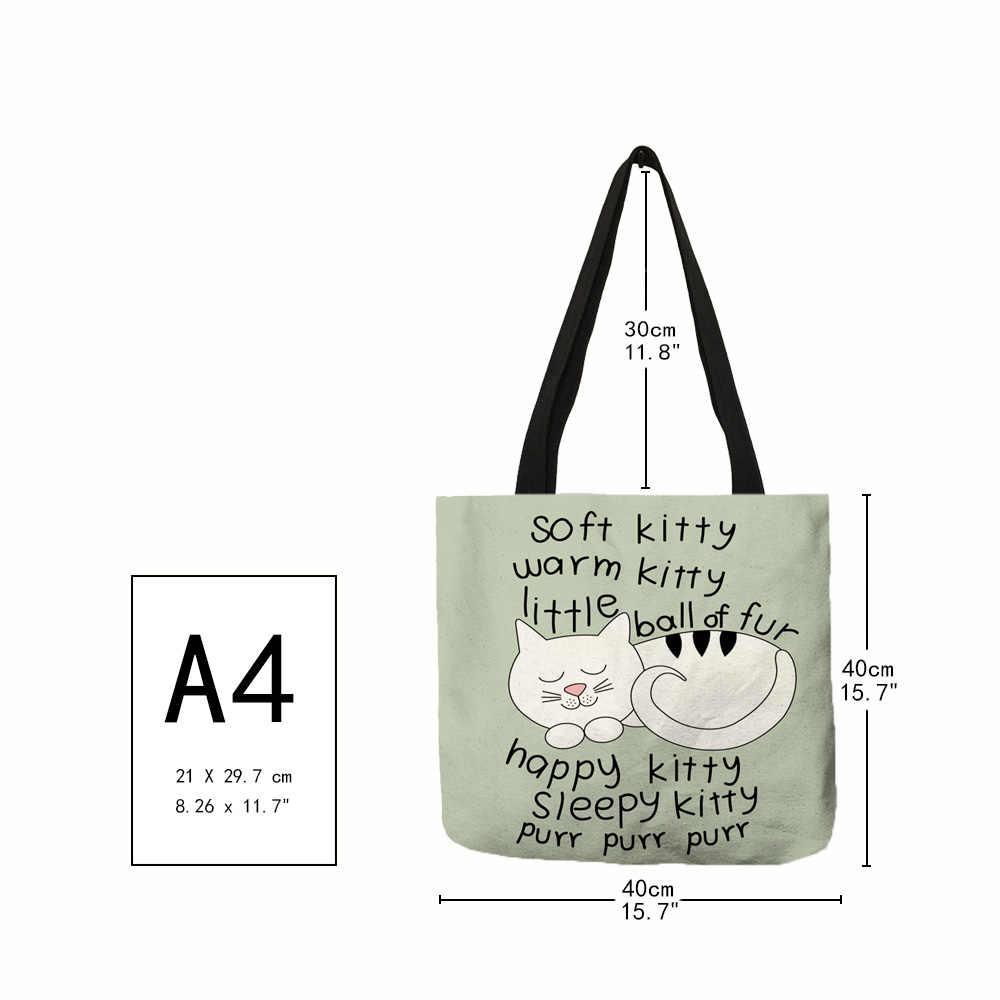 Menyesuaikan Kreatif Kucing Tote Tas untuk Wanita Tas Kain Berharap Cetak untuk Tas Wanita Belanja Perjalanan Tote Kantong