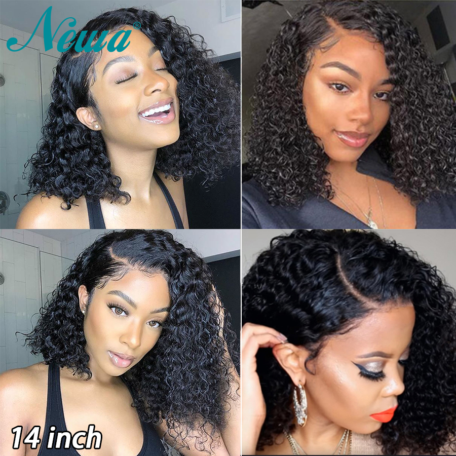 Newa Hair 13x6 Curly Lace Front Human Hair Wigs Pre Plucked Cheap Lace Front Wigs Short Bob Wigs Brazilian Remy Lace Frontal Wig