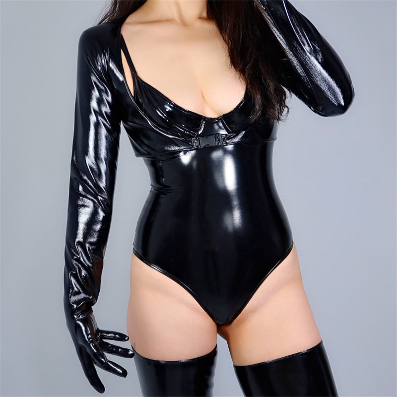 2020 NEW LATEX BOLERO GLOVES Shine Leather Faux Patent Black Jacket Crop Top Shrug Jumper Women Long Leather Gloves WPU202