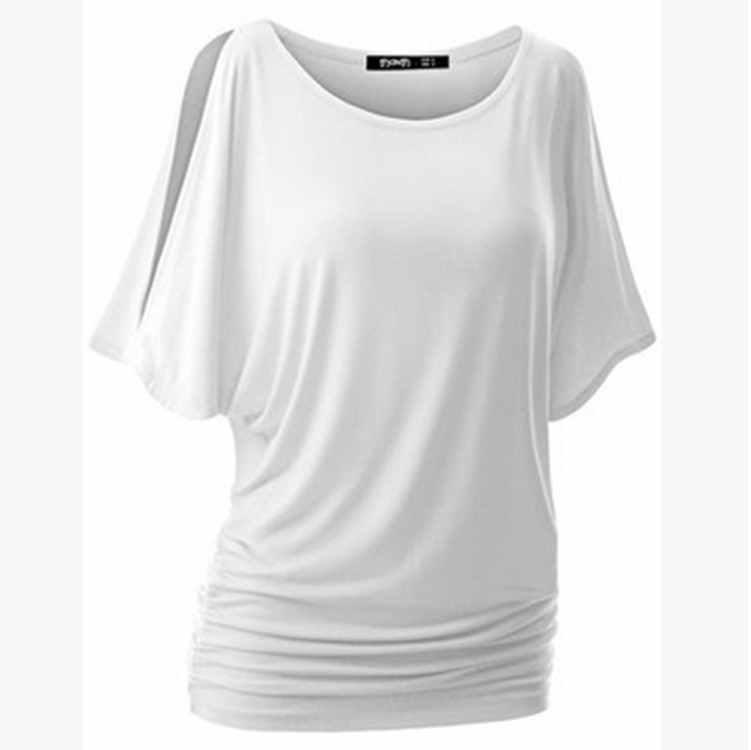 CYSINCOS yaz kış bayan T-Shirt moda O boyun gevşek uydurma T-Shirt katı kısa kollu Tee üstleri yarasa gömlek