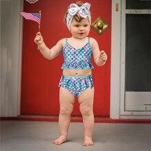 Mermaid Swimsuit Bikini Girls Baby Beachwear Kids Child One-Piece Toddler Bow-Knot