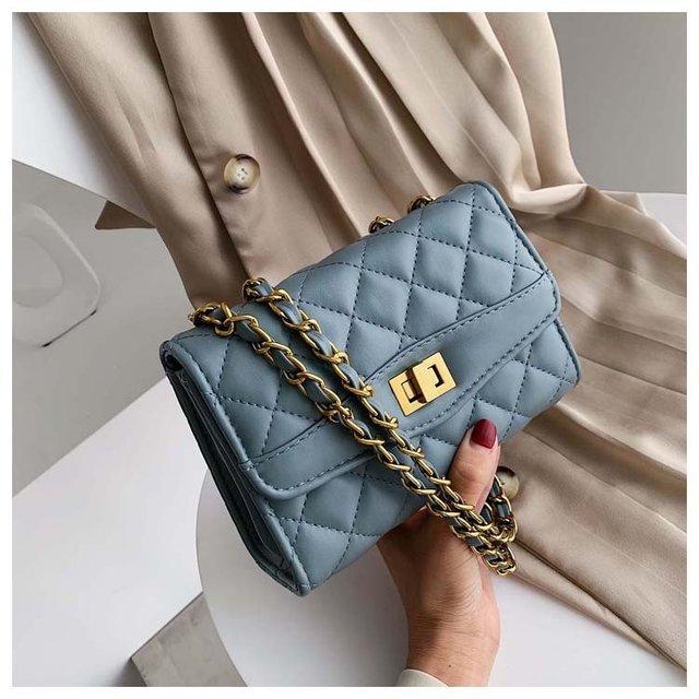 Casual Women Bag Female Handbag Leather Shoulder Bag Girls Crossbody Quilted Chain Diamond Mini Flap Lock Fashion Sling Lady Bag