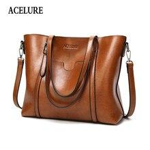 ACELURE Women bag Oil wax Womens Leather Handbags Luxury Lady Hand Bags With Purse Pocket Women messenger bag Big Tote Sac Bols