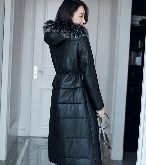 Geniune Leather Jacket Sheepskin Leather Duck Down Jacket Women Hooded Winter Warm Thickening Long Outwear 2020 MF303