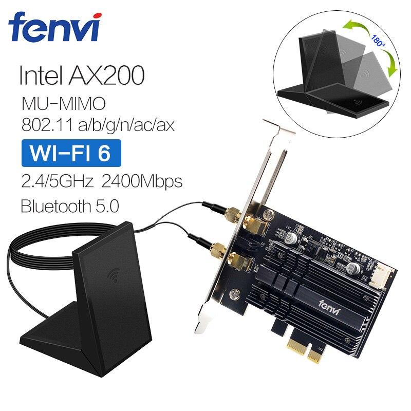 Adaptateur de carte réseau Wi-Fi sans fil double bande 2400Mbps avec Wi-Fi 6 Intel AX200 NGW NGFF avec 802.11 ac/ax BT 5.0 pour bureau