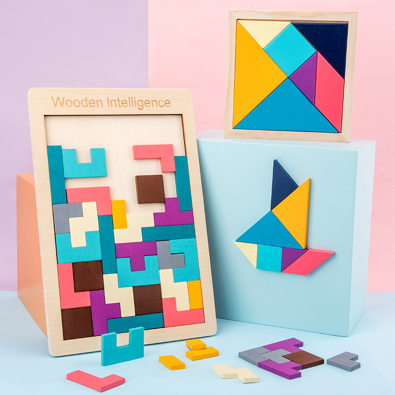 Wooden Tangram Brain Tetris Game Puzzle Bloacks Colorful Wooden Puzzles For Kids Learning Developing Children Educational Toy