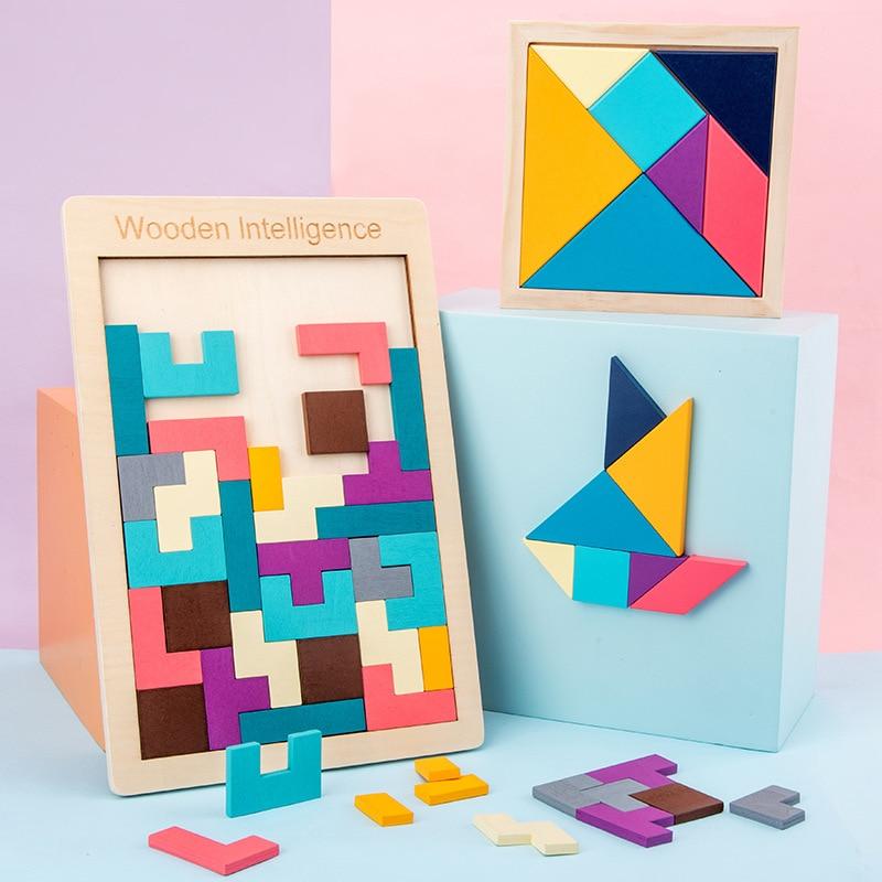 Quebra-cabeças de madeira colorido, quebra-cabeças de madeira colorido para crianças, aprendendo a desenvolvimento infantil