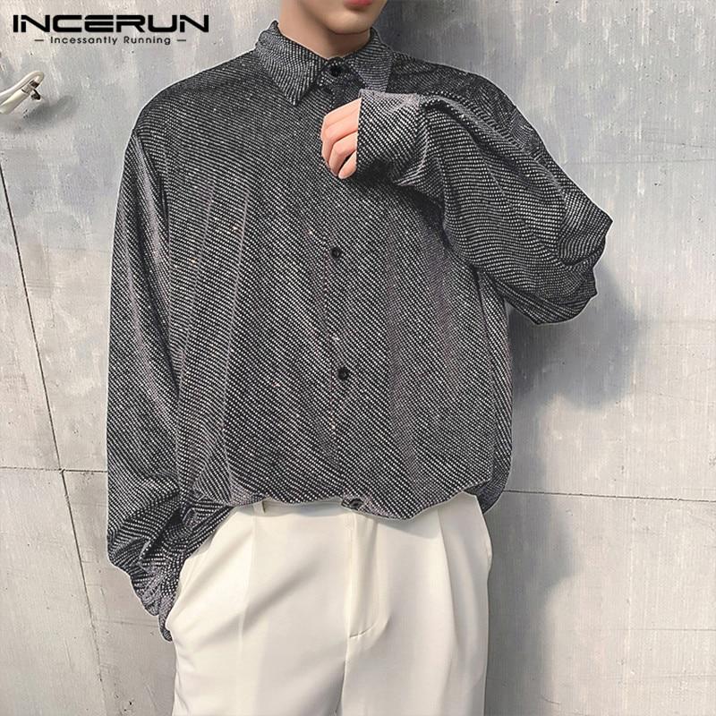 INCERUN Fashion Shiny Shirt Men Long Sleeve Lapel Loose Chic Party Button Nightclub Mens Dress Shirts Casual Blouse Camisa 2020