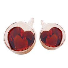 В форме сердца Двойные стенки изолированные стеклянные кофейные кружки или чашки чая двойными стенками стекло 10 унций-прозрачный уникальный и изолированный с ручкой