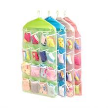 Armario plegable portátil de 16 rejillas, bolsa colgante para puerta de pared, ropa interior, organizador de almacenamiento de zapatos, artículos diversos, novedad