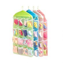 New Portable 16 Grid Foldable Wardrobe Wall Door Back Hanging Bag Underwear Sock Hanging Shoe Storage Organizer Sundries Bag