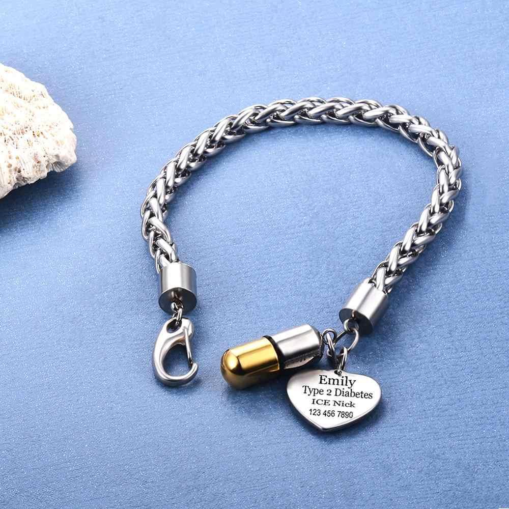 Gepersonaliseerde Emergency Medische Id Alert Rvs Id Tags Armband Pil Cilinder Houder Aangepaste Medische Alert Armband