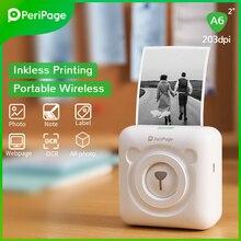 Портативный термопринтер PeriPage, Bluetooth, 203 точек/дюйм, белая этикетка, фото-счет, беспроводной принтер A6