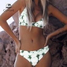 Cupshe verde tie dye conjuntos de biquíni feminino rendas até sexy tanga duas peças maiôs 2020 menina bonito praia fatos de banho