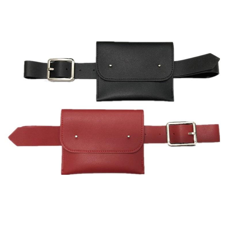 Four Seasons Women's Mini Belt Bag Trendy Personality Wild Fashion Change Mobile Phone Bag PU Metal Buckle Belt Fanny Waist Bag