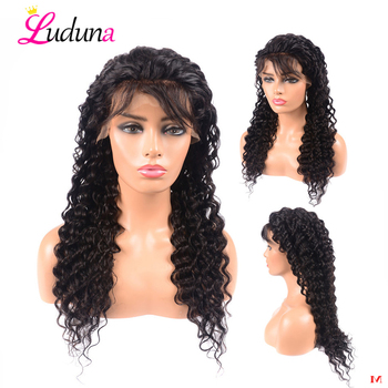 Luduna Deep Wave Lace Front Human Hair Wigs For Black Women Malaysian Hair Lace Front Wig With Baby Hair 150% Density 13*4 Remy