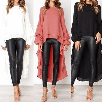 Lantern Sleeve Layered Shirts Women Asymmetrical Blouse 2019 ZANZEA Fashion Tops Female Casual Blusas Femininas Plus Size Shirts 6