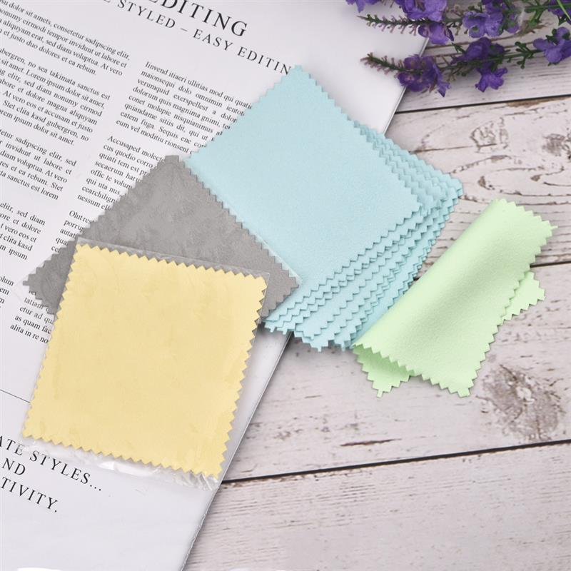 50pcs/Pack 8x8cm Polish Cleaning Polishing Cloth With Package Cleaning Cloth Silver Jewelry Wiping Cloth Individually Packaged