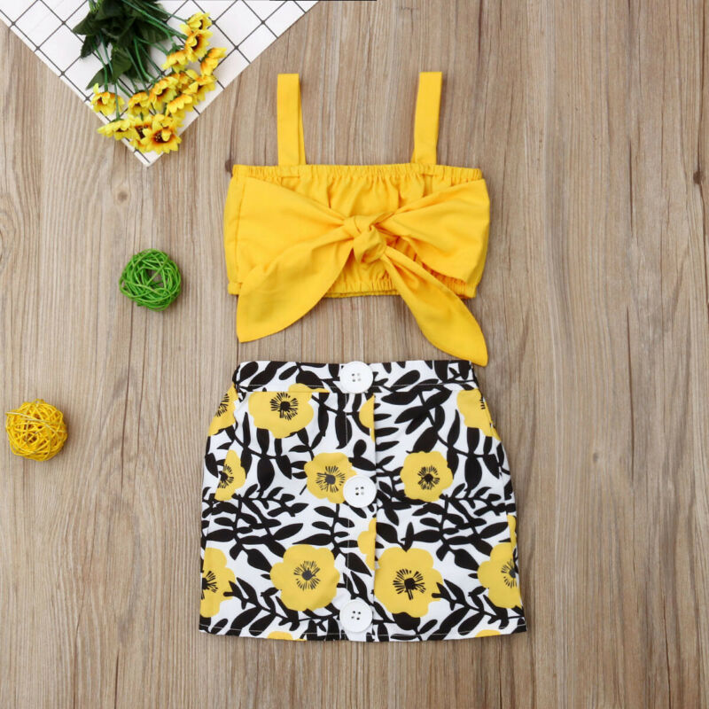 2PCS Kids Baby Girl Outfit Summer Sleeveless Bowknot Vest Tops Skirt Clothes Set