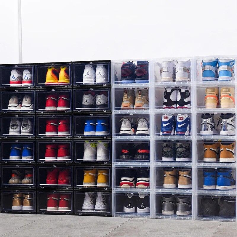 Wholesale 12-60pcs Clear magnetic Drop Shoe Box Solid Hard Plastick Sneaker Rack Storage Organizer Shelf Stackable Fit AJ&Jordan