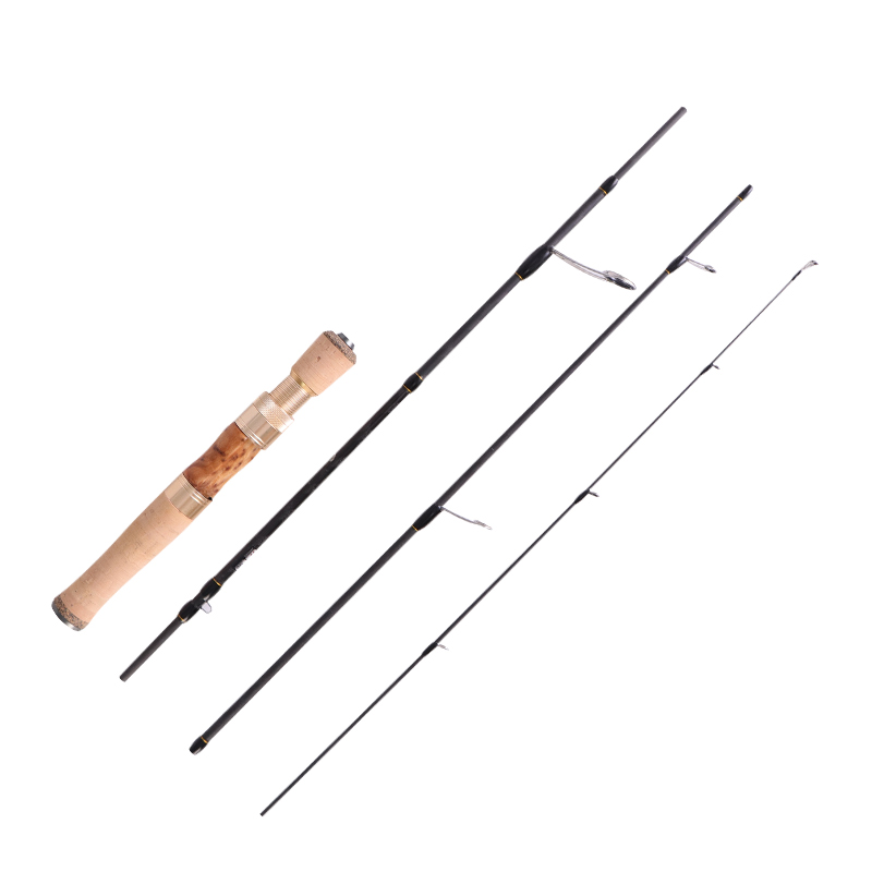Image 5 - Free shipping!!MADMOUSE Full Fuji Parts Trout Rod 1.42m/1.68m  Portable Rod Wood Handle Solid Carbon Spinning/Casting Fishing  RodFishing Rods