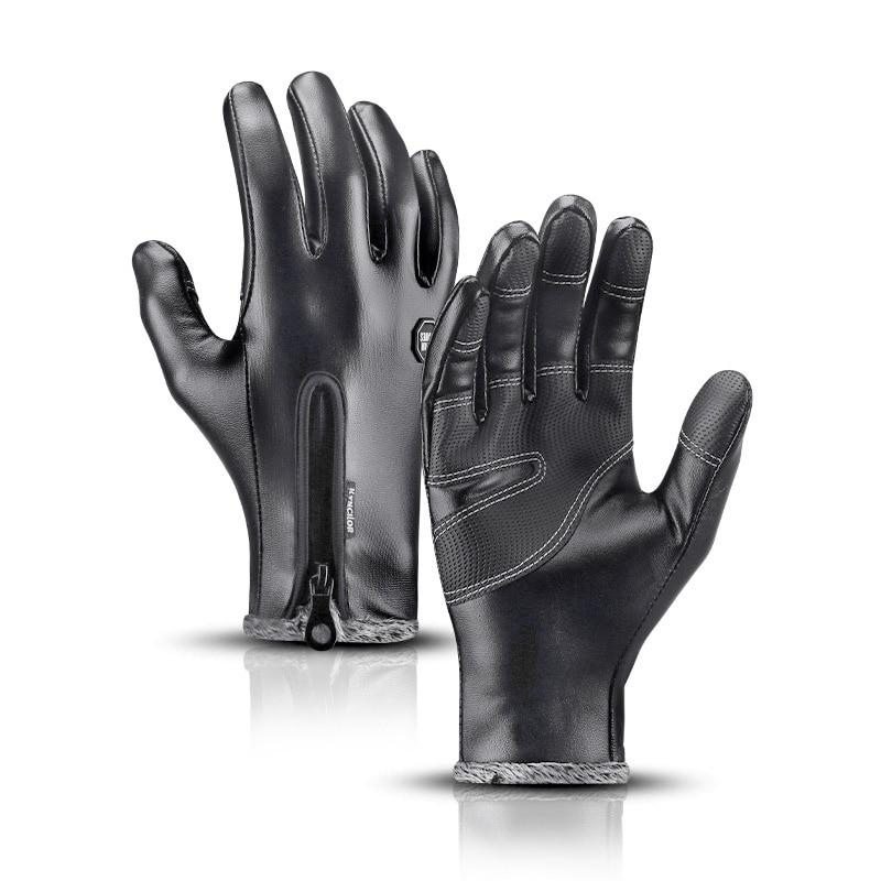 Winter Warm Leather Gloves Man Women Touch Screen Waterproof Velvet Outdoor Riding Windproof Non-slip Sports Full Finger Gloves
