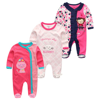 0-12Months Baby Rompers Newborn Girls&Boys 100%Cotton Clothes of Long Sheeve 1/2/3Piece Infant Clothing Pajamas Overalls Cheap - Baby Rompers RFL3707, 6M