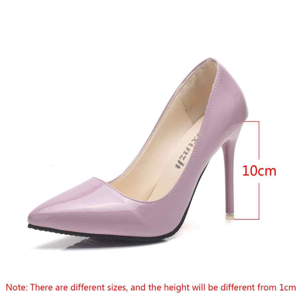 black white pink heels shoes woman pointed high heels stiletto shallow mouth sexy patent leather work shoes women's shoes 10cm