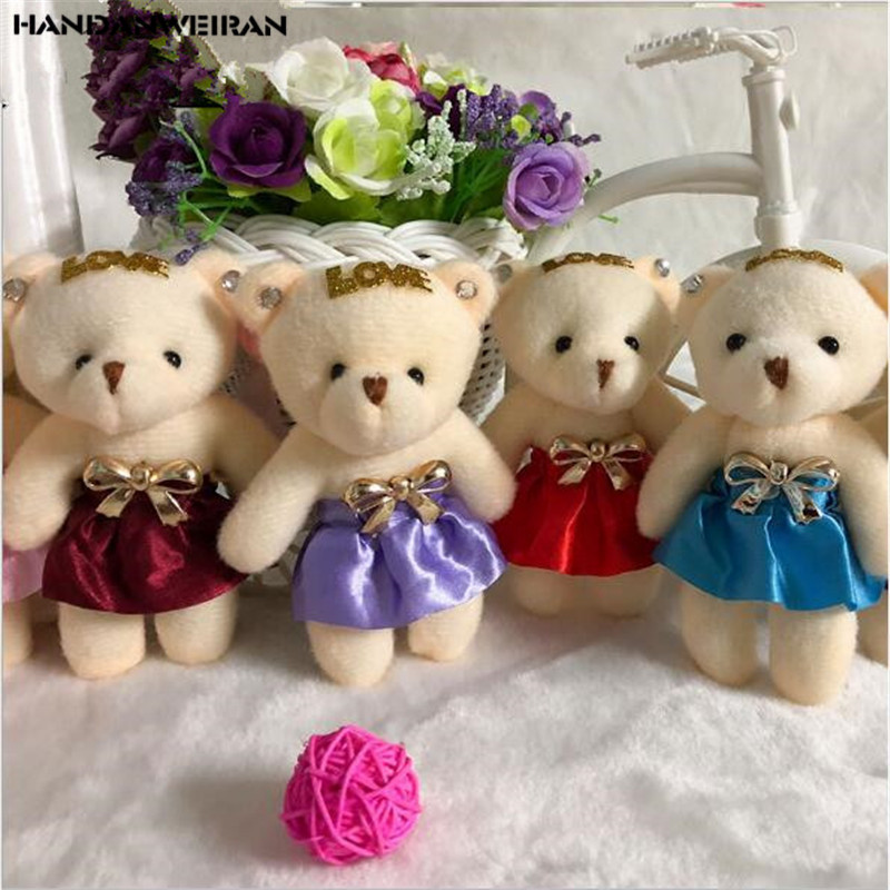 Stuffed Toy New 1PCS 11CM Plush Bear 10 Colors Optional Toy Doll Pendant Unisex Lovely Fluffy Bear Doll Toy Kids Wholesale