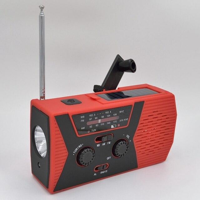 5 en 1 extérieur Portable solaire manivelle AM FM Radio pour Radio durgence SOS alarme lampe de poche 2000MAh batterie externe et lampe de lecture
