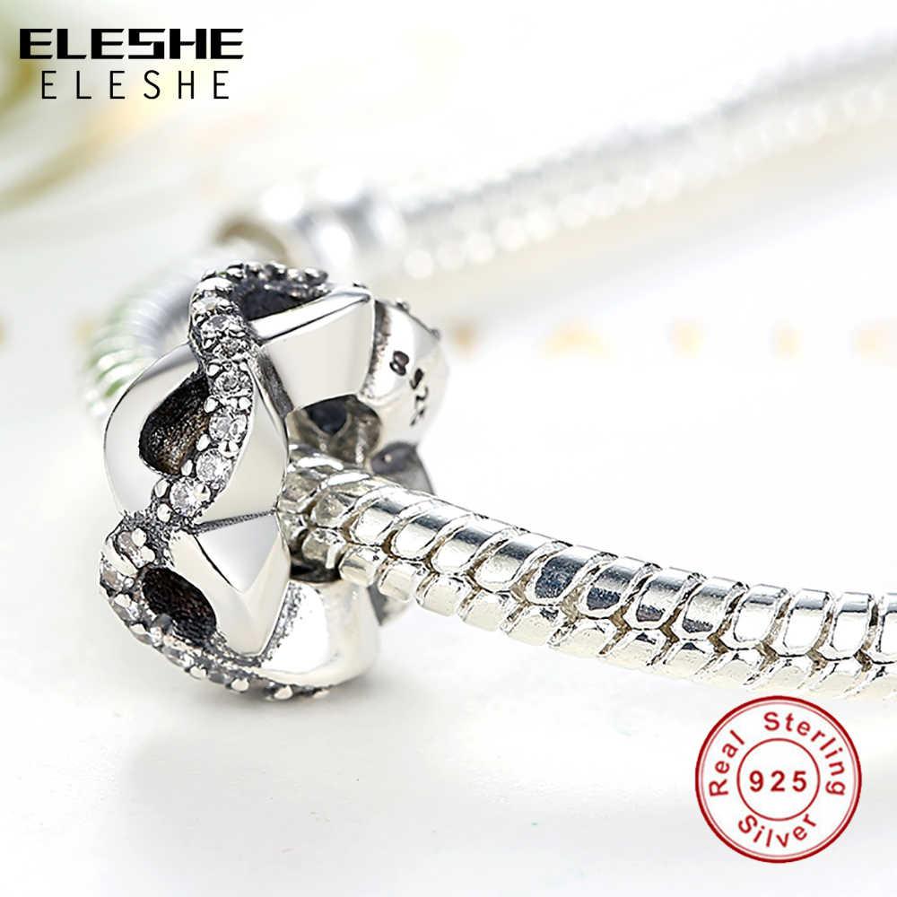 Katı gerçek 925 ayar gümüş Infinity papatya altın kalp halka boncuk Fit orijinal Charm bilezik DIY otantik takı