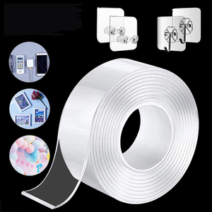 1M/2M/3M/5M Double Nano Magic Tape Double Sided Tape Transparent NoTrace Reusable Waterproof Adhesive Tape Cleanable Home